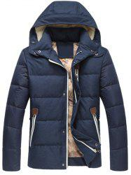 Zipper Up Detachable Hooded Quilted Jacket
