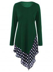Asymmetrical Polka Dot Long Sleeve Tee -