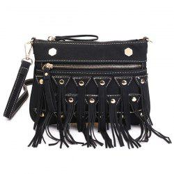 Suede Rivet Fringe Crossbody Bag