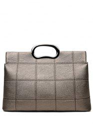 PU Leather Metal Handle Grid Handbag