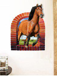 3D Horse Rushing Window Living Room Animal Wall Stickers