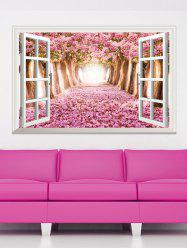 3D Floral Window Design Living Room Removable Wall Stickers - PINK