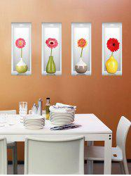 3D Removable Simulation Flower Vase Wall Stickers For Living Room - COLORMIX