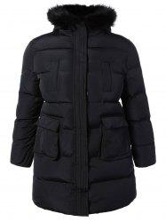 Plus Size Padded Faux Fur Trim Hooded Coat - BLACK
