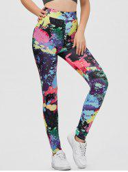 Splatter Paint Yoga Running Leggings - COLORMIX