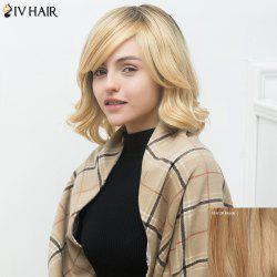 Siv Medium Side Bang Shaggy Wavy Human Hair Wig
