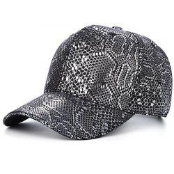 Snake Skin Print PU Leather Outdoor Baseball Hat - SILVER