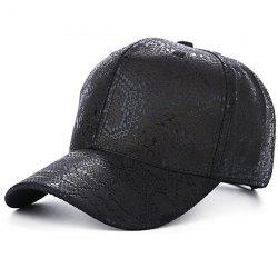 Snake Skin Print PU Leather Outdoor Baseball Hat -