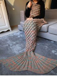 Fish Scale Crochet Knit Warm Long Mermaid Blanket Throw - LIGHT BROWN