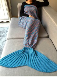 Stripy Crochet Knit Home Decor Mermaid Blanket Throw