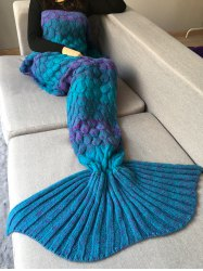 Fish Scale Crochet Knit Home Decor Mermaid Blanket Throw - TURQUOISE