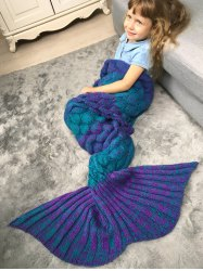Color Block Fish Scale Crochet Knit Warm Mermaid Blanket Throw For Kids -