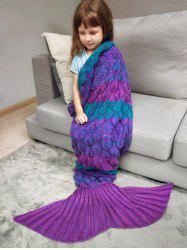 Color Block Fish Scale Crochet Knit Mermaid Blanket Throw For Kids -