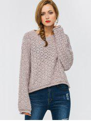 Crew Neck Drop Shoulder Chunky Sweater - SUEDE ROSE