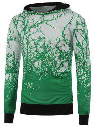 Hooded 3D Tree Branch Print Green Hoodie -