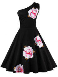 One Shoulder Embroidered Cute Swing Skater Dress - BLACK 3XL