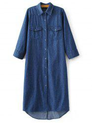 Midi Denim Button Up Casual Shirt Dress