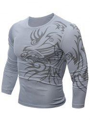 Tattoo Print Round Neck T-Shirt