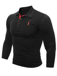 Buttoned Number Patch Long Sleeve T-Shirt - BLACK