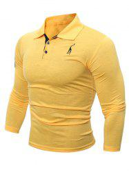 Buttoned Number Patch Long Sleeve T-Shirt - YELLOW