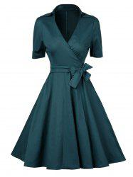 V  Neck Vintage Low Cut Wrap Dress With Short Sleeves - BLACKISH GREEN