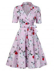 Floral Print Low Cut Wrap Around Formal Dress -