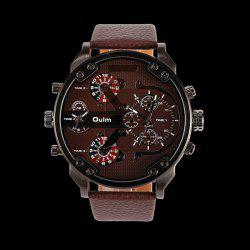 Big Dial Plate Wrist Quartz Watch - COFFEE