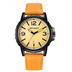 Faux Leather Date Analog Quartz Watch -