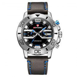Montre quartz waterproof en cuir  - Bleu