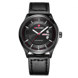 Waterproof Faux Leather Analog Date Watch - BLACK