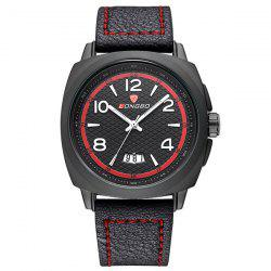 Waterproof Date Faux Leather Wrist Watch