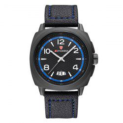 Waterproof Date Faux Leather Wrist Watch - BLUE