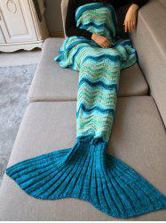 Hollow Out Wave Striped Crochet Knit Warm Mermaid Blanket Throw