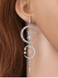 Rhinestoned Stars Moon Drop Earrings