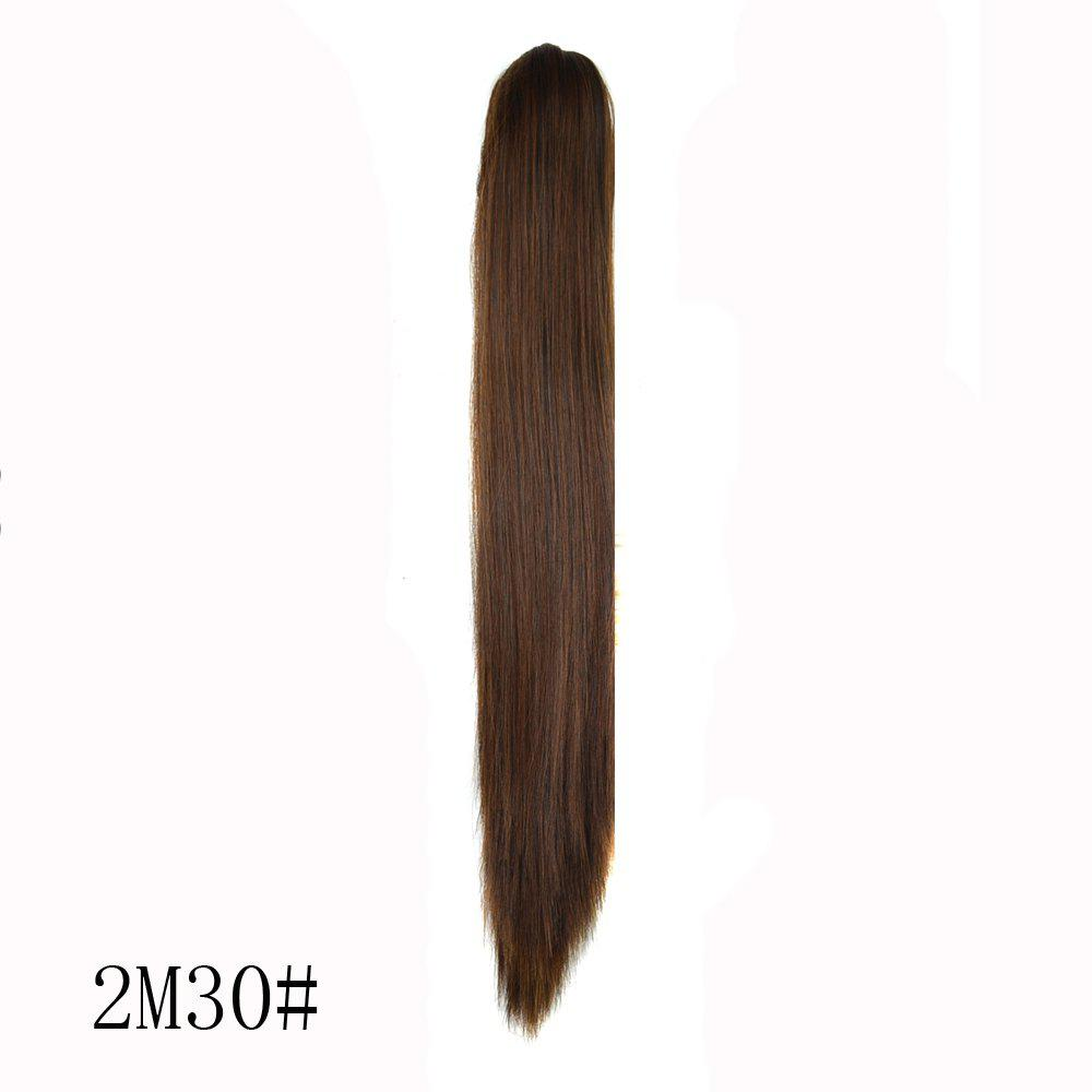 High Temperature Fiber Long Straight PonytailHAIR<br><br>Color: BROWN; Hair Extension Type: Loop; Style: Straight; Fabric: Synthetic Hair; Length: Long; Weight: 0.180kg; Package Contents: 1 x Ponytail; Length Size(CM): 60;