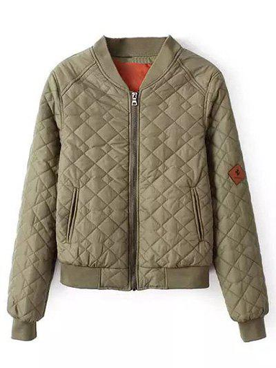 Affordable Zipper Quilted Bomber Jacket