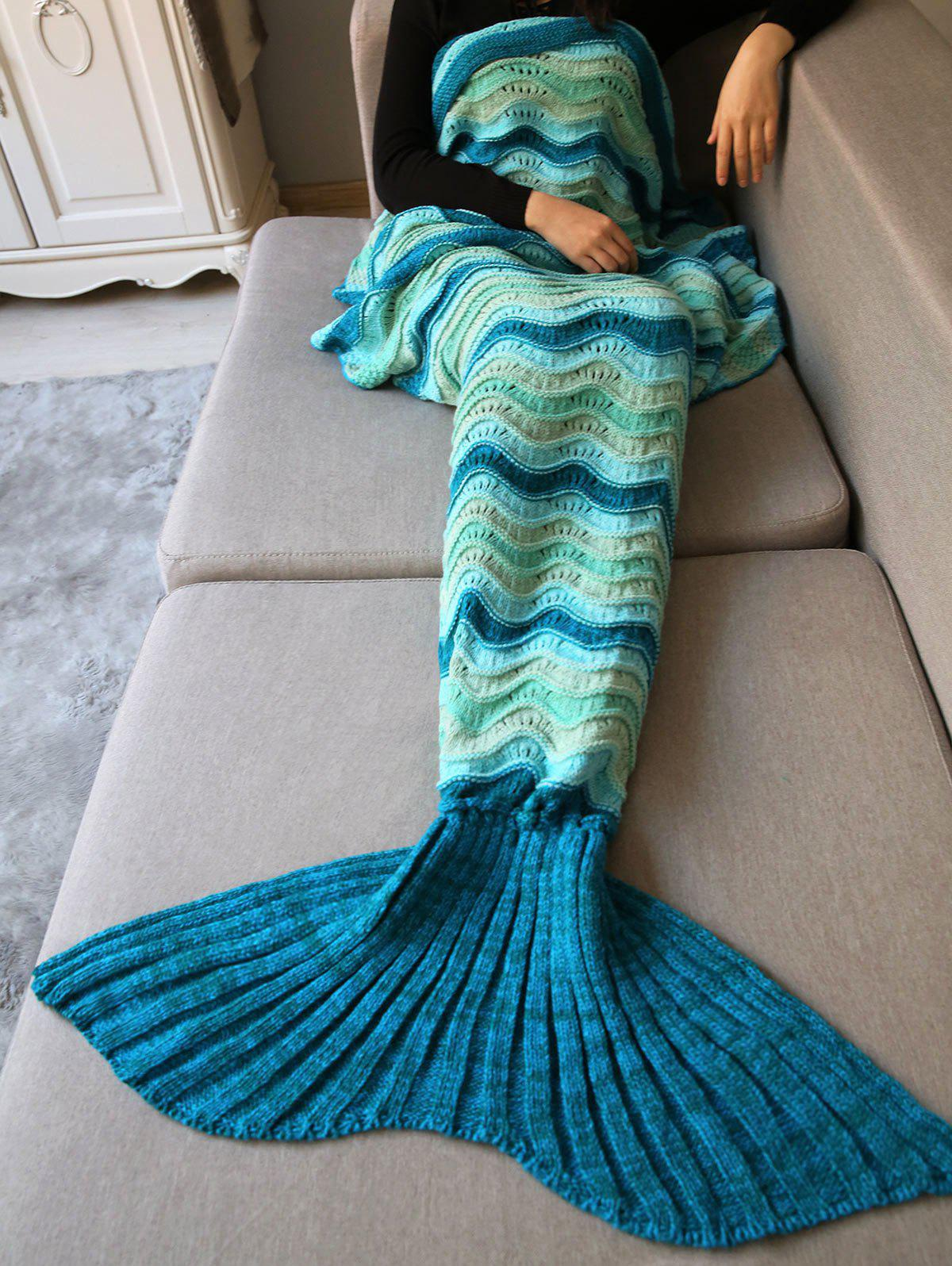 Shops Hollow Out Wave Striped Crochet Knit Warm Mermaid Blanket Throw