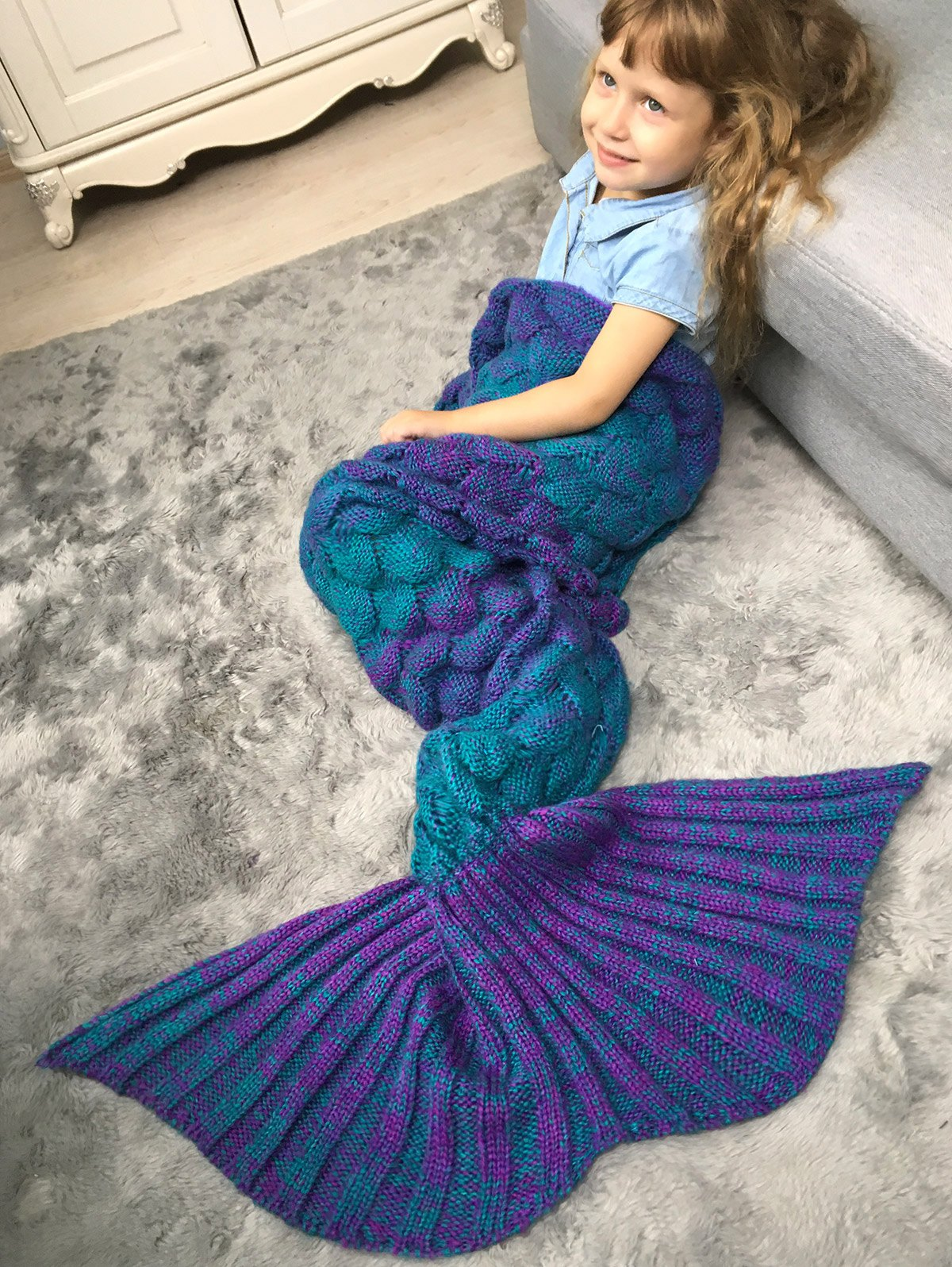 Shops Color Block Fish Scale Crochet Knit Warm Mermaid Blanket Throw For Kids