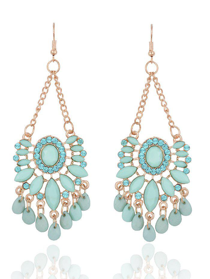 Bohemia Floral Rhinestone Drop EarringsJEWELRY<br><br>Color: FRESH; Earring Type: Drop Earrings; Gender: For Women; Metal Type: Alloy; Style: Trendy; Shape/Pattern: Floral; Length: 9.5CM*3.5CM; Weight: 0.050kg; Package Contents: 1 x Earrings (Pair);