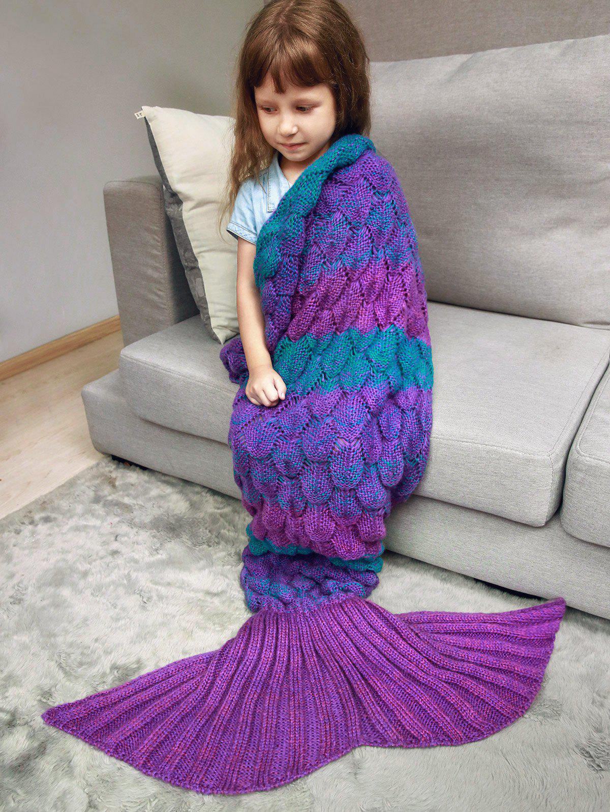 Outfit Color Block Fish Scale Crochet Knit Mermaid Blanket Throw For Kids