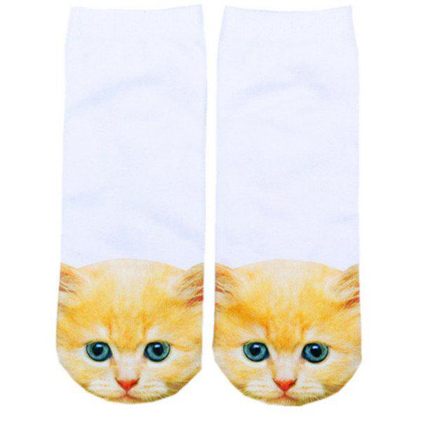 3D Ginger Cat Head Printed Crazy SocksACCESSORIES<br><br>Color: WHITE; Type: Socks; Group: Adult; Gender: For Women; Style: Fashion; Pattern Type: Animal; Material: Spandex; Weight: 0.100kg; Package Contents: 1 x Socks(Pair);