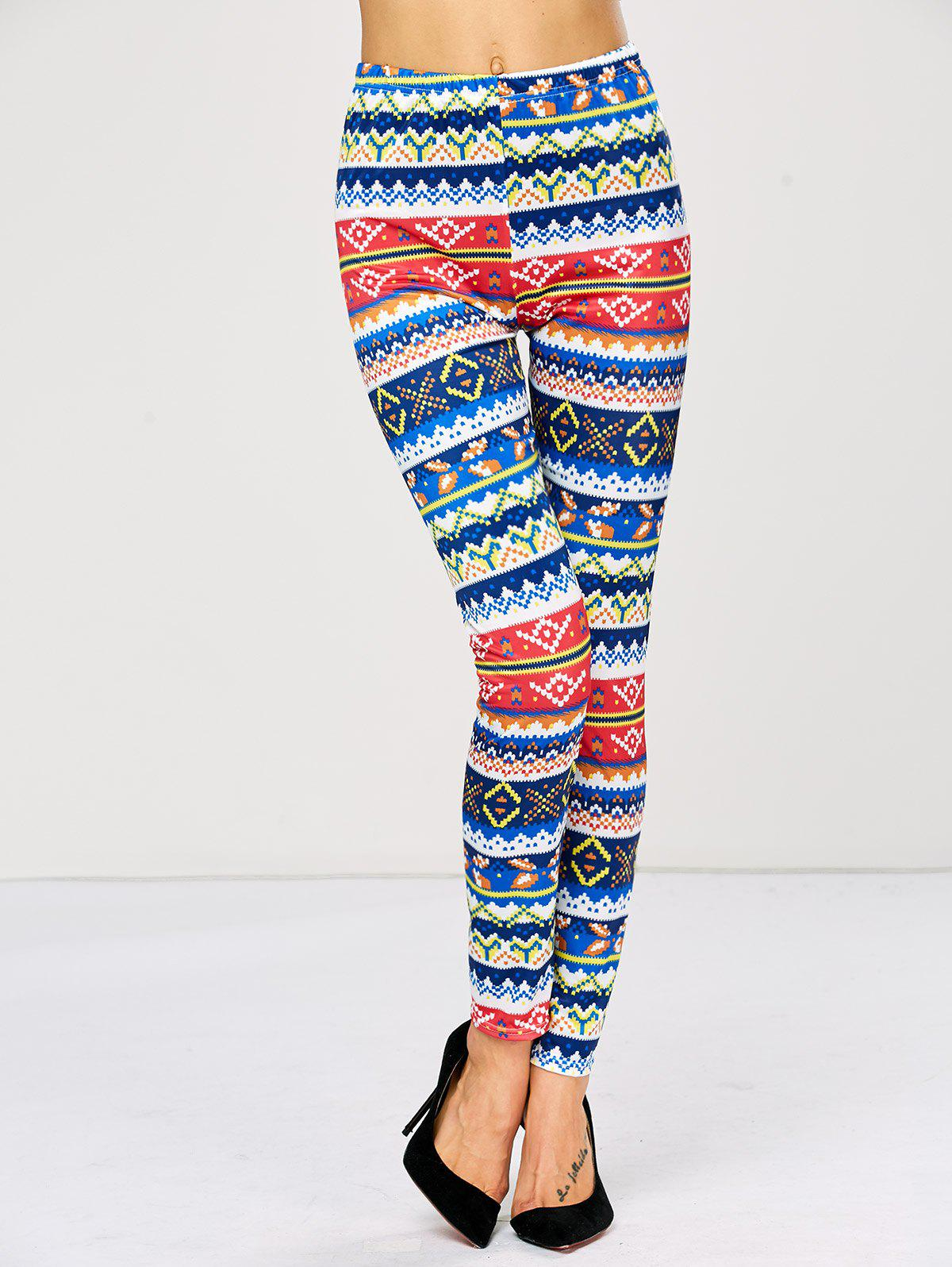 Sale Strench Color Block Patterned Bodycon Aztec Print Leggings