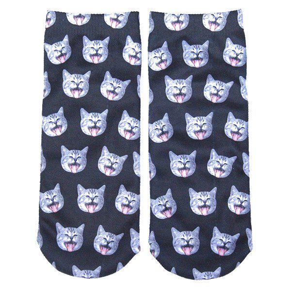 3D Yawn Cat Head Printed Crazy Ankle SocksACCESSORIES<br><br>Color: DEEP GRAY; Type: Socks; Group: Adult; Gender: For Women; Style: Fashion; Pattern Type: Animal; Material: Spandex; Weight: 0.100kg; Package Contents: 1 x Socks(Pair);