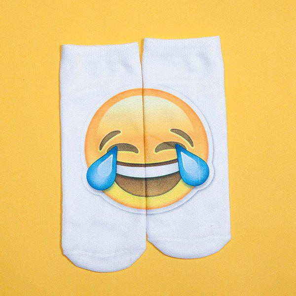 3D Big Crying Face Printed Emoji SocksACCESSORIES<br><br>Color: WHITE; Type: Socks; Group: Adult; Gender: For Women; Style: Fashion; Pattern Type: Face; Material: Spandex; Weight: 0.100kg; Package Contents: 1 x Socks(Pair);
