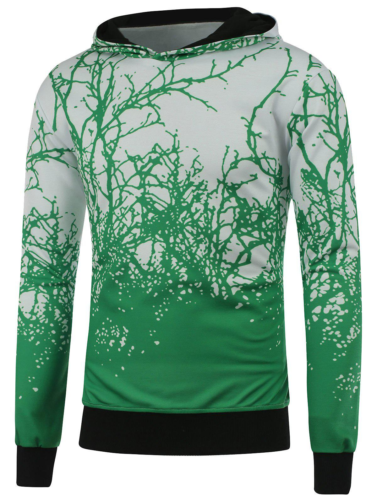 Cheap Hooded 3D Tree Branch Print Green Hoodie