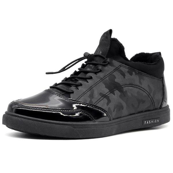 New Patent Leather Camouflage Pattern Casual Shoes