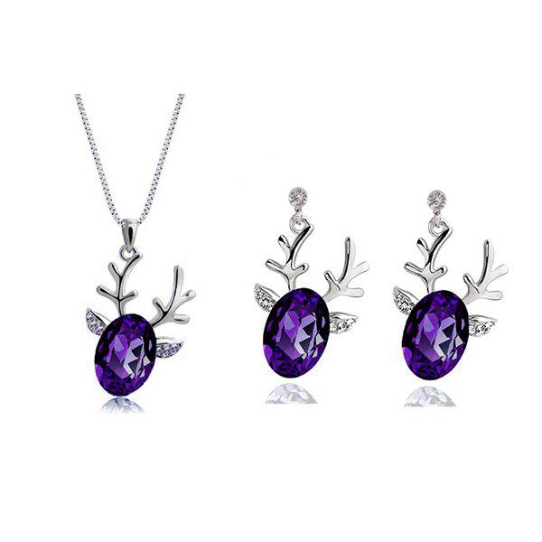 Rhinestone Christmas Elk Necklace and EarringsJEWELRY<br><br>Color: PURPLE; Item Type: Pendant Necklace; Gender: For Women; Style: Noble and Elegant; Shape/Pattern: Animal; Weight: 0.050kg; Package Contents: 1 x Necklace 1 x Earring (Pair);