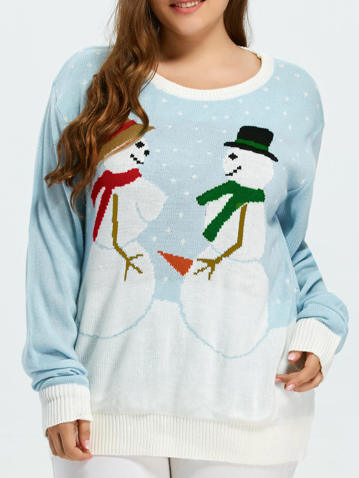 Funny Snowman Pattern Christmas Cute Plus Size SweaterWOMEN<br><br>Size: 3XL; Color: SKY BLUE; Type: Pullovers; Material: Cotton,Spandex; Sleeve Length: Full; Collar: Round Neck; Technics: Computer Knitted; Style: Casual; Season: Fall,Spring,Winter; Pattern Type: Character; Weight: 0.550kg; Package Contents: 1 x Sweater;