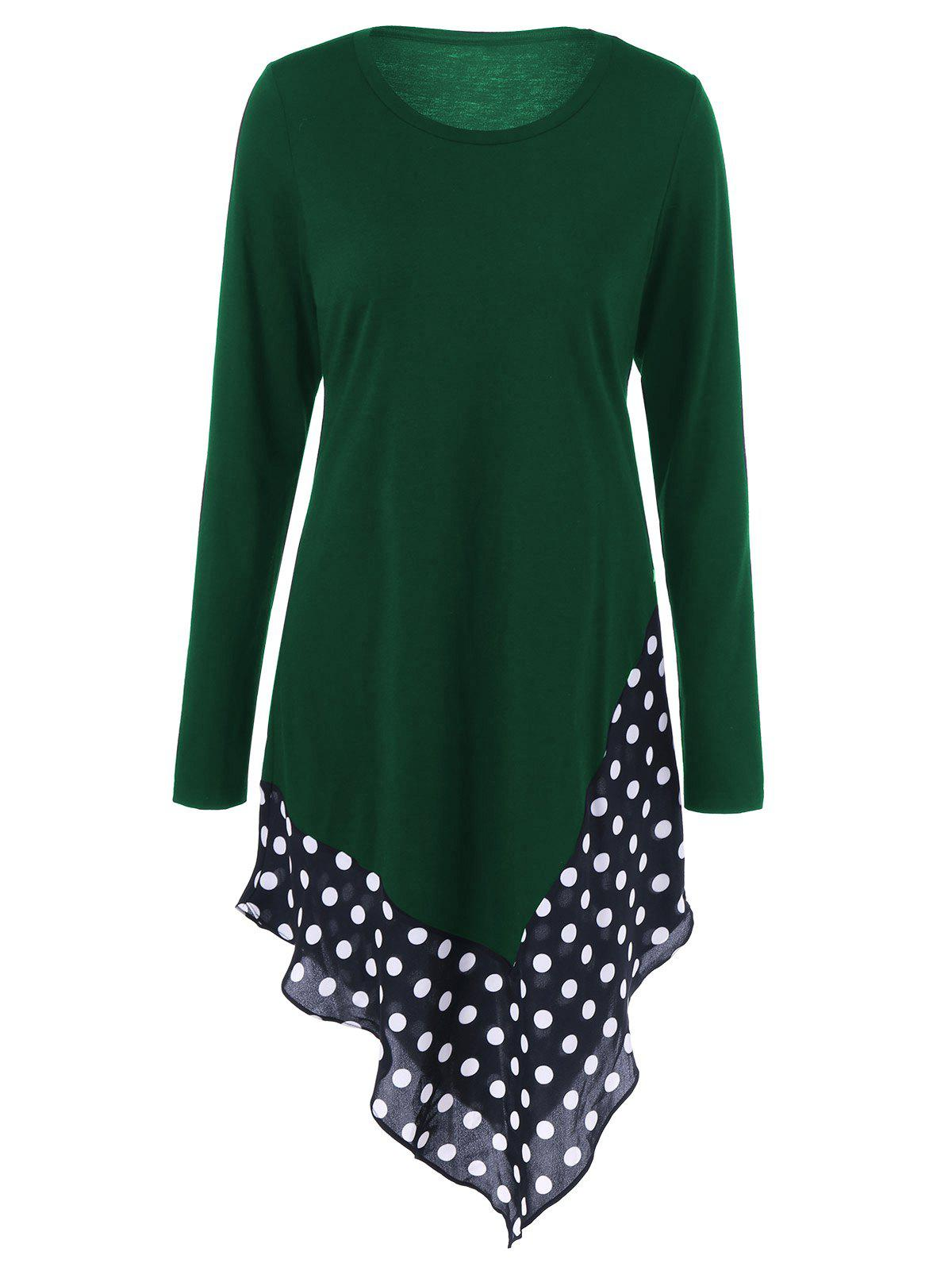 Best Asymmetrical Polka Dot Long Sleeve Tee