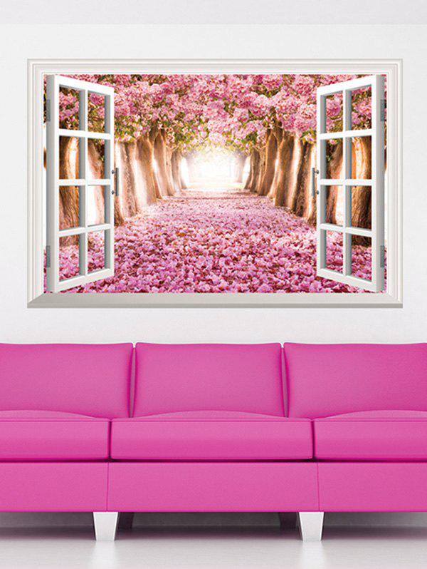 Pink 3d Floral Window Design Living Room Removable Wall Stickers ...